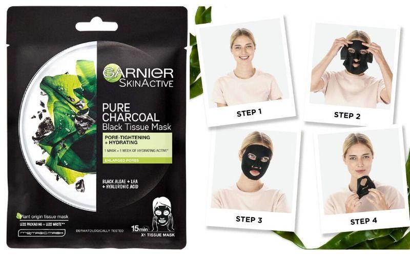 garnier charcol face pack sheet mask