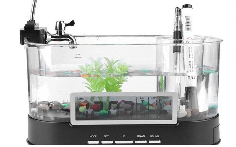 1.5L Mini Aquarium Fish Tank USB Aquarium With LED Lamp Light LCD Display Screen And Clock Fish Tank Aquarium Black/ White D20