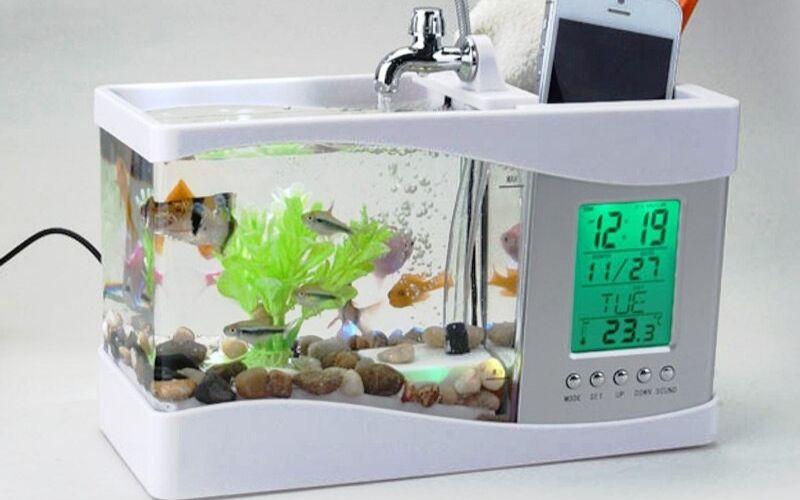 USB 220V Mini Aquarium Fish Tank Aquarium With LED Lamp Light LCD Display Screen and Clock Fish Tank Desktop Aquarium Fish Tanks