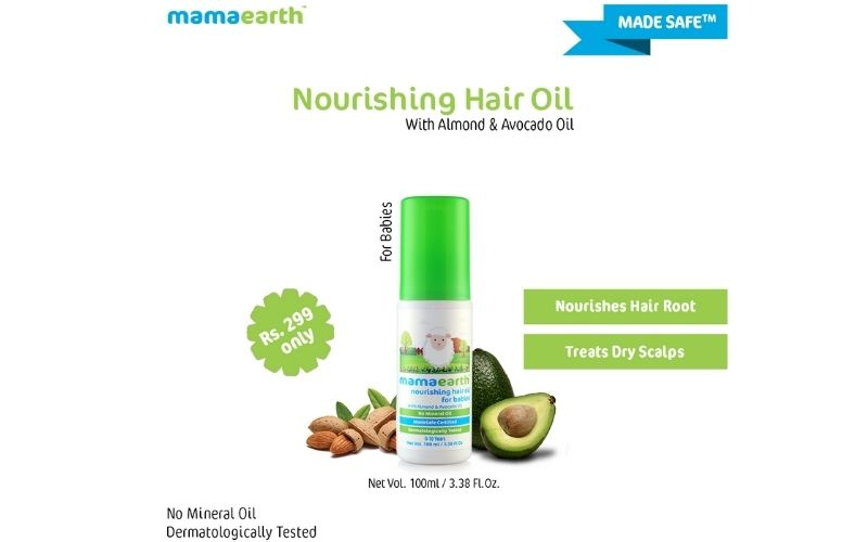 MAMAEARTH NOURISHING HAIR OIL FOR BABIES WITH ALMOND & AVOCADO OIL